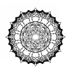 Lace embroidery round ornament vector image