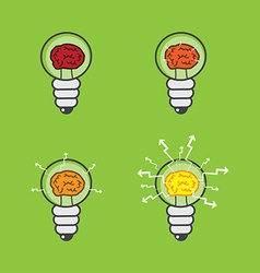 Lightbulb with brain vector image