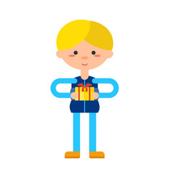 little boy with gift box icon vector image