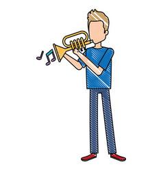 Man playing trumpet avatar vector