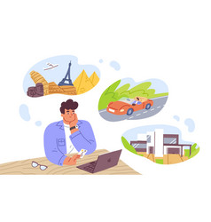 man think about house car and vacation vector image