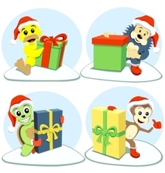 Merry christmas cartoon animals vector