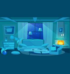Messy room at night flat cartoon pillow on floor vector