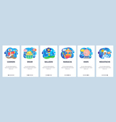 mobile app onboarding screens circus show vector image