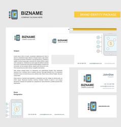 Money through smartphone business letterhead vector