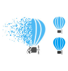 Moving dotted halftone air balloon icon vector