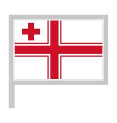 Naval ensign tonga flag on flagpole icon vector