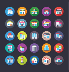 Pack of creative flat icons of buildings vector