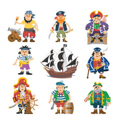 Pirate piratic character buccaneer man in vector