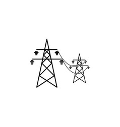 power lines icon black on white background vector image