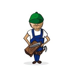Profession carpenter man cartoon figure vector