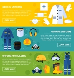Protective Uniforms Equipment Flat Banners Set vector