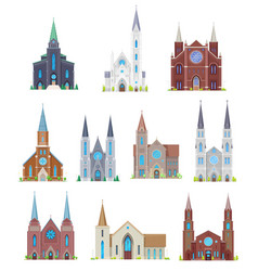 protestant churches medieval cathedral buildings vector image