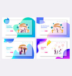 Quarantine landing page template set characters vector