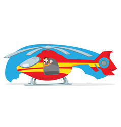 red and yellow helicopter and pilot cheering vector image