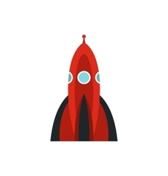 Red space shuttle icon flat style vector image