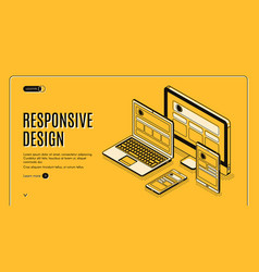 Responsive design landing page page construction vector