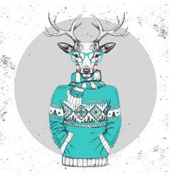 retro hipster fashion animal deer vector image