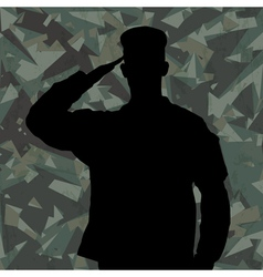Saluting soldier on green army background vector image