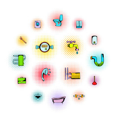 sanitary engineering comics icons vector image