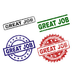 scratched textured great job stamp seals vector image