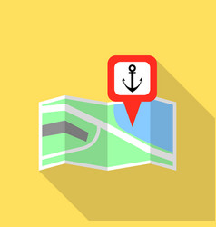 Sea port map pin icon flat style vector