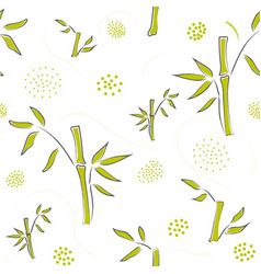 Seamless pattern with hand drawn bamboo on modern vector