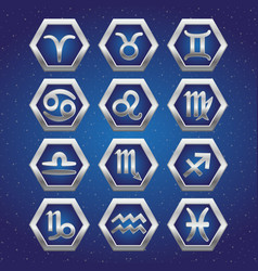 Set of cosmic icons with signs of zodiac vector