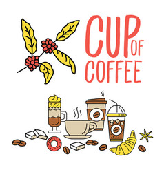 set of flat line colored flat coffee icons vector image