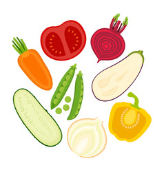 Set with sliced vegetables vector