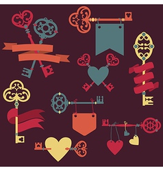 set with vintage keys ribbons and hearts can vector image