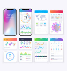 smartphone ui set with data business graphs vector image
