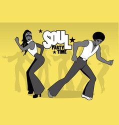 Soul party time young couple dancing soul funk or vector