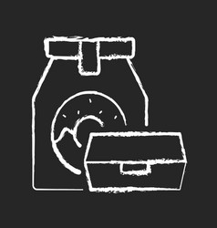 take away food chalk white icon on black vector image