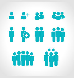 team icons set group people icons vector image