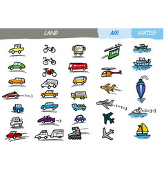 Transport-vehicles doodles vector