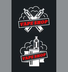 Vape shop hipster vintage retro logo vector