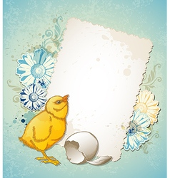 Vintage Easter card with yellow chicken vector image vector image
