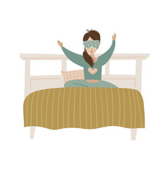 Wake up girl young woman in bed yawning isolated vector