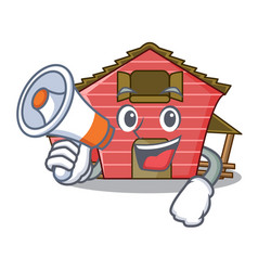 With megaphone character red barn building with vector
