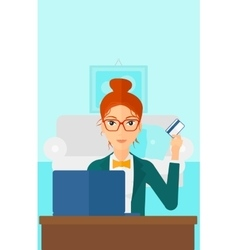 Woman making purchases online vector image
