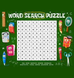 word puzzle game worksheet with school characters vector image