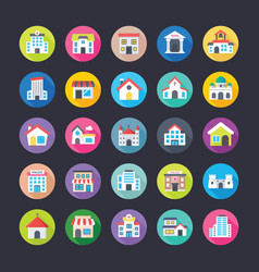 colourful flat icons set of buildings vector image vector image