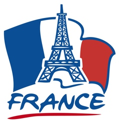 paris eiffel tower design and france flag vector image vector image