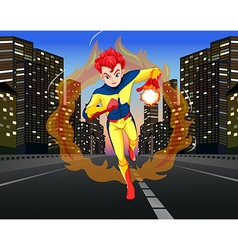 Superhero on the road in the city vector image
