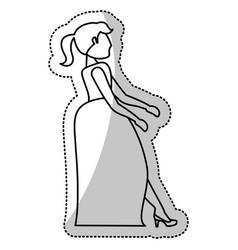 woman bride wedding outline vector image