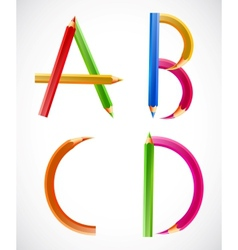 Colorful alphabet of pencils A B C D vector image