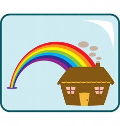 house and rainbow vector image vector image