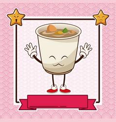 kawaii ramen soup chinese food card banner vector image vector image