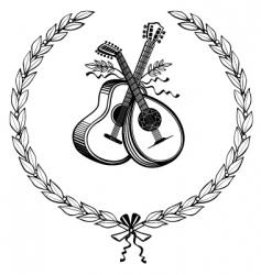 laurel wreath with instruments vector image